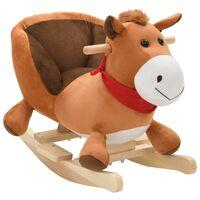 vidaXL Houpací plyšový kůň s opěradlem 60 x 32 x 50 cm hnědý