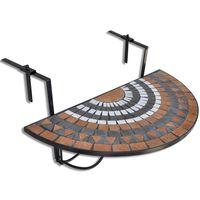 vidaXL Závěsný stolek na balkon bílý a barva terakota mozaika