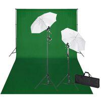 vidaXL Studiová sada světel a zeleného pozadí 600 x 300 cm