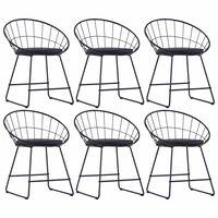vidaXL Jídelní židle se sedáky z umělé kůže 6 ks černé ocelové
