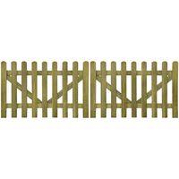 vidaXL Plotová brána laťková 2křídlá impregnované dřevo 300 x 100 cm