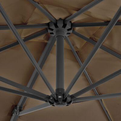 vidaXL Konzolový slunečník s hliníkovou tyčí 250 x 250 cm barva taupe