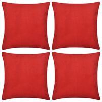 4 červené povlaky na polštářky bavlna 50 x 50 cm