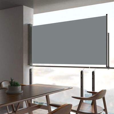 vidaXL Zatahovací boční markýza / zástěna na terasu 80 x 300 cm šedá