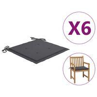 vidaXL Podušky na zahradní židle 6 ks antracitové 50x50x4 cm textil