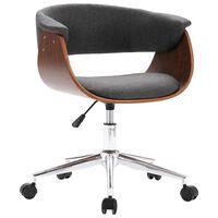 vidaXL Otočná kancelářská židle šedá ohýbané dřevo a textil