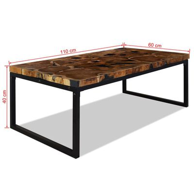 vidaXL Konferenční stolek teak a pryskyřice 110 x 60 x 40 cm