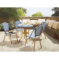 Kulatý Zahradní Stůl Ø 70 Cm S Modro-bílým Vzorem Rifreddo