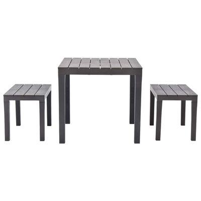 vidaXL Zahradní stůl se 2 lavicemi plast hnědý