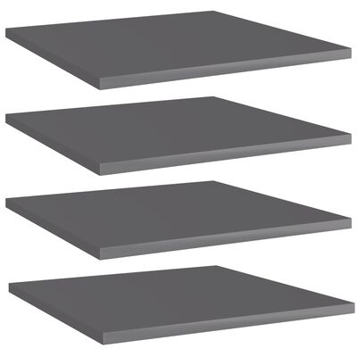 vidaXL Přídavné police 4 ks šedé vysoký lesk 40x40x1,5 cm dřevotříska