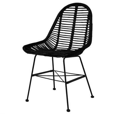 vidaXL Jídelní židle 6 ks černé přírodní ratan