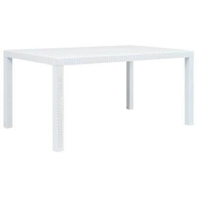 vidaXL Zahradní stůl bílý 150 x 90 x 72 cm plastový ratanový vzhled, Bílá
