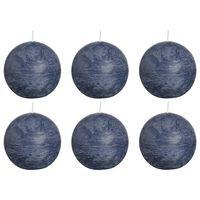 Bolsius Rustikální kulaté svíčky 6 ks 80 mm tmavě modré
