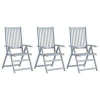 vidaXL Zahradní polohovací židle 3 ks šedé masivní akáciové dřevo