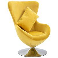 vidaXL Otočné křeslo ve tvaru vejce s polštářem žluté sametové