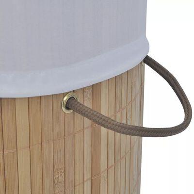vidaXL Bambusový koš na prádlo kulatý přírodní