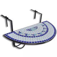 vidaXL Závěsný stolek na balkon modro-bílý mozaika
