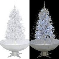 vidaXL Sněžící vánoční stromeček s deštníkovým stojanem bílý 170 cm