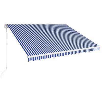 vidaXL Automatická zatahovací markýza 400 x 300 cm modrobílá