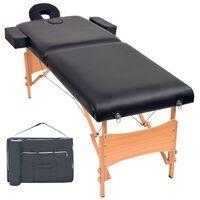 vidaXL 2zónový skládací masážní stůl 10 cm silný černý
