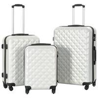 vidaXL Sada skořepinových kufrů na kolečkách 3 ks jasně stříbrná ABS