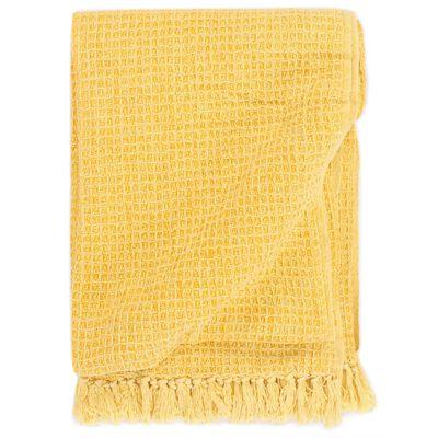 vidaXL Přehoz bavlna 125 x 150 cm hořčicově žlutý