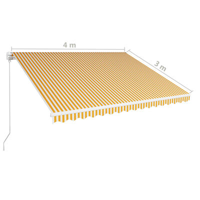 vidaXL Ručně zatahovací markýza 400 x 300 cm žlutobílá