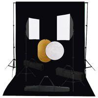 vidaXL Foto studio set se softboxy, fotopozadím a odraznou deskou
