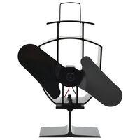 vidaXL Teplem poháněný ventilátor na kamna 2 lopatky černý