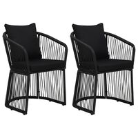 vidaXL Zahradní židle 2 ks s poduškami a polštáři PVC ratan černé