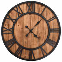 vidaXL Vintage nástěnné hodiny se strojkem Quartz dřevo a kov 60cm XXL