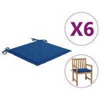 vidaXL Podušky na zahradní židle 6 ks královsky modré 50x50x4cm textil