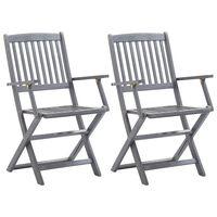 vidaXL Skládací zahradní židle 2 ks masivní akáciové dřevo