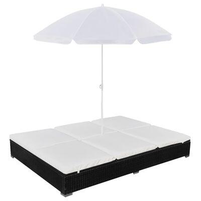vidaXL Zahradní postel se slunečníkem polyratan černá