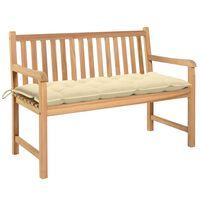 vidaXL Zahradní lavice s krémově bílou poduškou 120 cm masivní teak