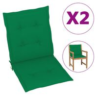 vidaXL Polstry na zahradní židle 2 ks zelené 100 x 50 x 4 cm