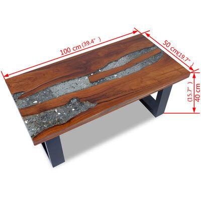 vidaXL Konferenční stolek, teak a pryskyřice 100x50 cm