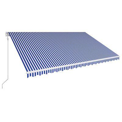 vidaXL Automatická zatahovací markýza 500 x 300 cm modrobílá