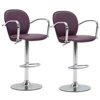 vidaXL Barové stoličky s područkami 2 ks fialové umělá kůže