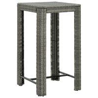 vidaXL Zahradní barový stůl šedý 60,5 x 60,5 x 110,5 cm polyratan