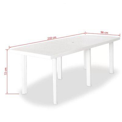 vidaXL Zahradní stůl bílý 210 x 96 x 72 cm plast