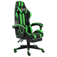 vidaXL Herní židle s podnožkou černo-zelená umělá kůže