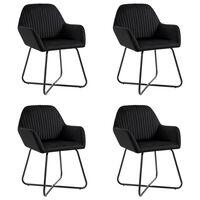 vidaXL Jídelní židle 4 ks černé samet
