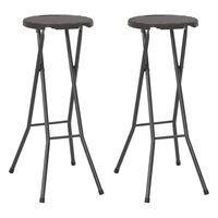 vidaXL Skládací barové stoličky 2 ks HDPE a ocel hnědé ratanový vzhled