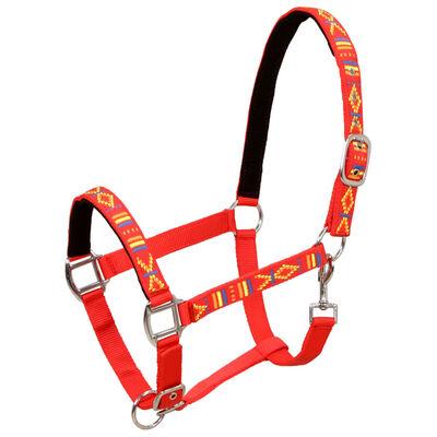 vidaXL Ohlávky na koně 2 ks nylonové velikost full červené, Red
