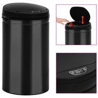 vidaXL Odpadkový koš s automatickým senzorem 40 l uhlíková ocel černý