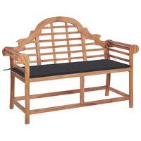vidaXL Zahradní lavice s antracitovou poduškou 120 cm masivní teak