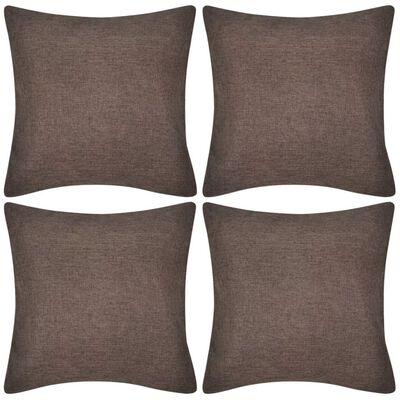 4 hnědé povlaky na polštářky, se vzhledem lnu 80 x 80 cm
