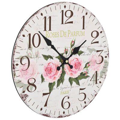 vidaXL Vintage nástěnné hodiny 30 cm květina