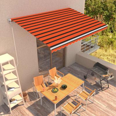 vidaXL Automatická zatahovací markýza 450 x 300 cm oranžovo-hnědá, oranžová a hnědá